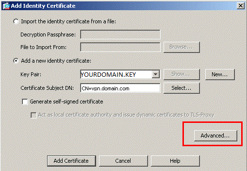 Add Identity Certificate Advanced