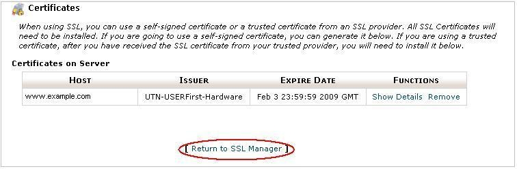Click Return to SSL Manager
