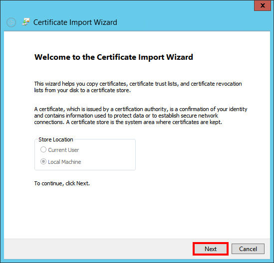 Click next on import wizard