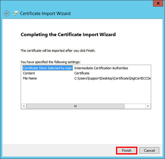 Finish Import Wizard