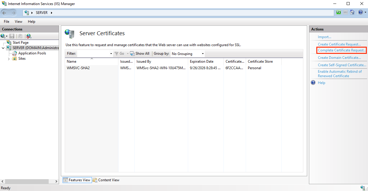 Complete Certificate Request Menu