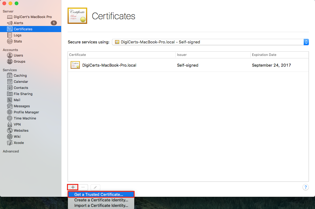 Dropdown menu Certificate options